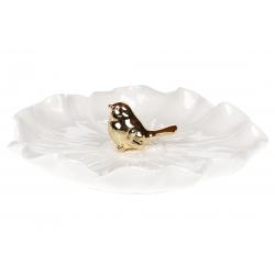 Декоративная тарелочка для украшений с золотой Птичкой, 19см