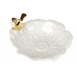 Декоративная тарелочка для украшений с золотой Птичкой, 16,5см