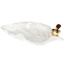 Декоративная тарелочка для украшений в форме листа с золотой Птичкой, 22см, цвет - белый