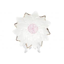 Декоративная подставка для украшений Цветок белый с розовой серединой, 12см