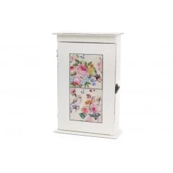 Ключница деревянная Птицы с керамическими вставками, цвет - состаренный белый