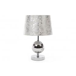 Лампа настольная 41см с металлическим основанием, стеклянным декором и тканевым абажуром