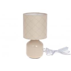 Лампа настольная 26см с фарфоровым основанием и тканевым абажуром, цвет - бежевый