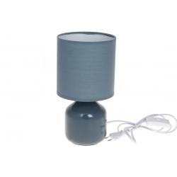 Лампа настольная 26см с фарфоровым основанием и тканевым абажуром, цвет - серо-голубой