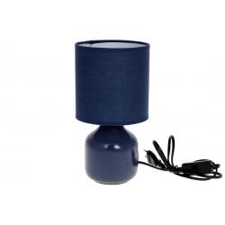 Лампа настольная 26см с фарфоровым основанием и тканевым абажуром, цвет - синий