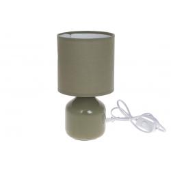 Лампа настольная 26см с фарфоровым основанием и тканевым абажуром, цвет - оливковый