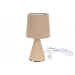 Лампа настольная 25см с фарфоровым основанием и тканевым абажуром, цвет - песочный