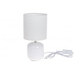 Лампа настольная 27см с фарфоровым основанием и тканевым абажуром, цвет - белый