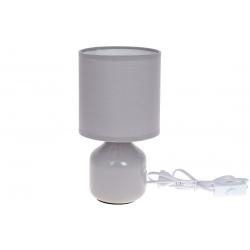 Лампа настольная 26см с фарфоровым основанием и тканевым абажуром, цвет - светло-серый