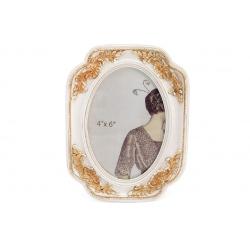 Рамка для фото Бланш, 19см, цвет - сливочно-белый с золотой патиной
