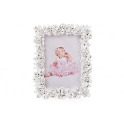 Рамка для фото 17см настольная Розы из искусственного камня белая