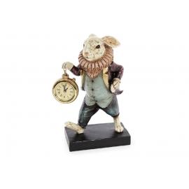 Декоративная фигура с часами Белый Кролик 24см