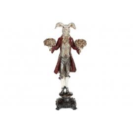 Декоративная фигура-подвечник Белый кролик 40.5см, цвет - красный
