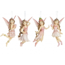 Декоративная подвесная фигурка Фея, 11.5см, 4 вида, цвет - розовый
