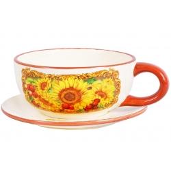 Кружка суповая керамическая 450мл с блюдцем Подсолнухи
