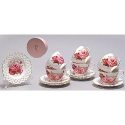 Кофейный набор на 6 персон (12 предметов) Розы, 90мл