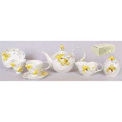 Набор Желтый ирис 15 предметов: 6 чашек + 6 блюдец + чайник + молочник + сахарница