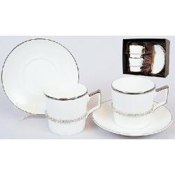 Кофейный сервиз фарфоровый 4пр: 2 чашки 150мл + 2 блюдца
