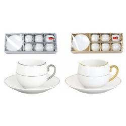 Кофейный набор фарфоровый: 6 чашек 80мл + 6 блюдец, 2 вида