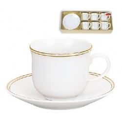 Кофейный набор фарфоровый: 6 чашек 90мл + 6 блюдец