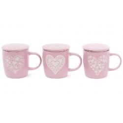 Заварник керамический 370мл Сердца с фильтром и крышкой, 3 вида, цвет - розовый