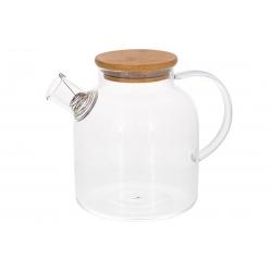 Заварочный чайник стеклянный с бамбуковой крышкой, 1.5л