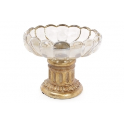 Конфетница 20см со стеклянной вставкой, цвет - золото антик