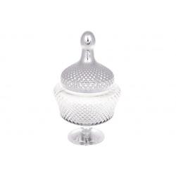 Конфетница Шевалье, 31см, цвет - прозрачный с серебром