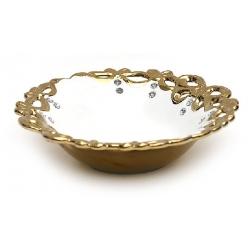 Блюдо с кристаллами 30.8см Золотой Ажур
