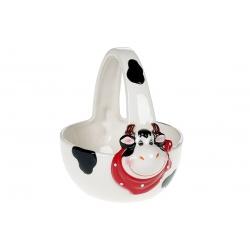Конфетница керамическая 400мл в форме корзины с объемным рисунком Веселая коровка