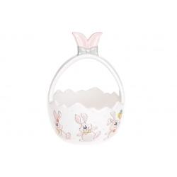 Конфетница керамическая 17.5см в форме корзины с объемным рисунком Веселый кролик