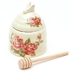 Медовница фарфоровая 12.5см с деревянной палочкой Корейская роза