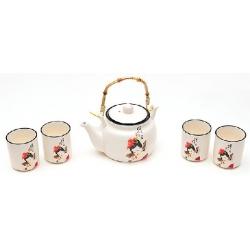 Чайный керамичекий набор: чайник 675мл и 4 чашки 150мл