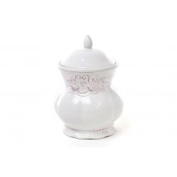 Банка для печенья керамическая Розы, цвет белый