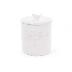Банка для печенья керамическая Птицы 19см, цвет - белый