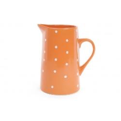 Кувшин керамический 1000мл, цвет - оранжевый в белый горошек