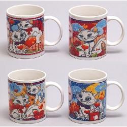 Кружка керамическая 360мл Влюбленные коты, 4 вида