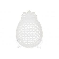 Блюдо керамическое Ананас 21см, цвет - белый перламутр