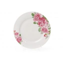 Десертная фарфоровая тарелка 19см Розовые розы