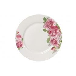 Обеденная фарфоровая тарелка 23см Розовые розы