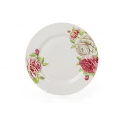Обеденная фарфоровая тарелка 23см Розы