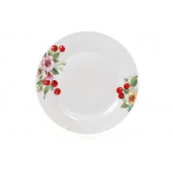 Обеденная фарфоровая тарелка 23см Вишня