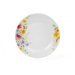 Обеденная фарфоровая тарелка 23см Акварельные цветы