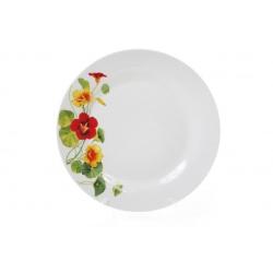 Обеденная фарфоровая тарелка 23см Настурция