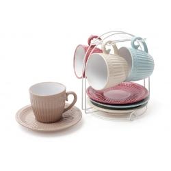 Набор чайный: 4 чашки 250мл + 4 блюдца на металлической подставке