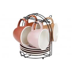 Набор (4 шт) фарфоровых матовых чашек 170мл с блюдцами на металлической подставке Терракотта