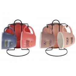 Кофейный набор фарфоровый на металлической подставке: 2 чашки 240мл + 2 блюдца, 2 дизайна