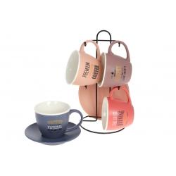 Кофейный набор фарфоровый на металлической подставке: 4 чашки 240мл + 4 блюдца