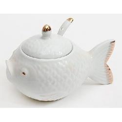 Икорница фарфоровая 15см с ложкой Рыба