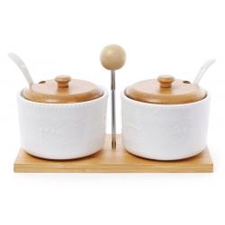 Набор сахарниц 375мл с ложками (2 шт) на бамбуковой подставке Naturel кружево